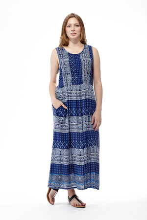 La Cera Blue Paisley Sleeveless Maxi Dress