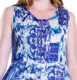 La Cera Blue Tie Dye Sleeveless Dress