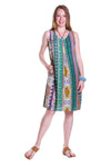 La Cera Green Multi Print Sleeveless Dress