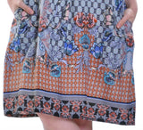 La Cera Multi Print Sleeveless Dress
