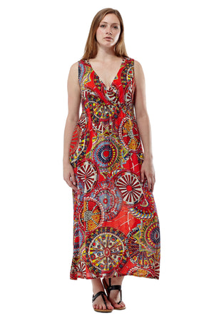 La Cera Red Sleeveless V-Neck Maxi Dress