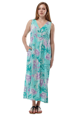 La Cera Sleeveless V-Neck Maxi Dress