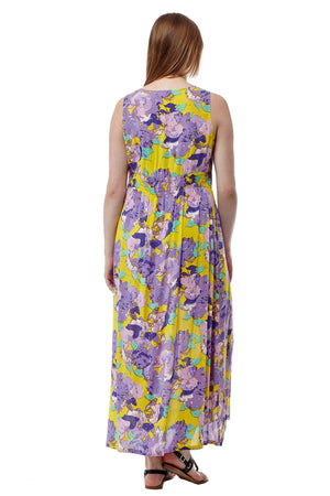 La Cera Floral Printed Sleeveless Rayon Maxi Dress