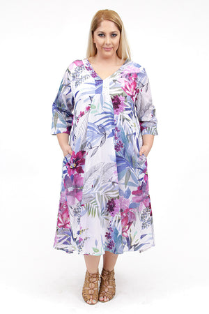 La Cera Women's Plus Size High-Low Printed Caftan - La Cera™ - 1