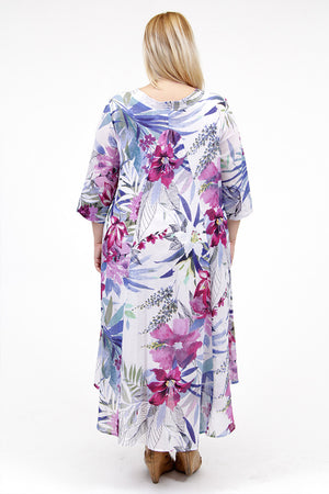 La Cera Women's Plus Size High-Low Printed Caftan - La Cera™ - 3