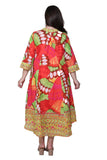 La Cera Women's Plus Size High-Low Butterfly Printed Caftan
