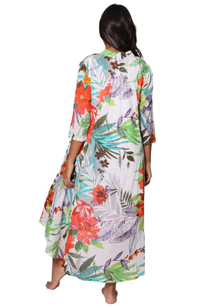 La Cera Women's High-Low Printed Caftan