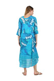 La Cera Women's High-Low Printed Caftan Turquoise