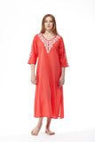 La Cera 3/4 Quarter Length Sleeve Embroidered Caftan