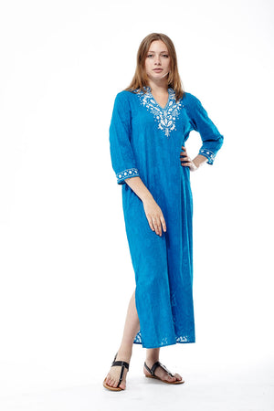 Plus Size La Cera 3/4 Quarter Length Sleeve Embroidered Caftan