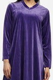 La Cera Long V-Neck Velour Shirt - La Cera™ - 2