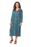 La Cera Paisley Print Long Sleeve Dress