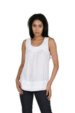 La Cera White Embroidered Sleeveless Top