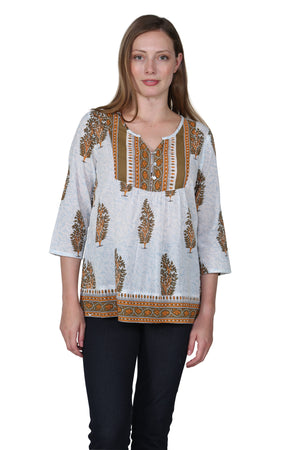 Sage Block Print Cotton Tunic Top
