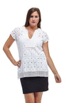 La Cera Cap Sleeve Medallion Lace Tunic