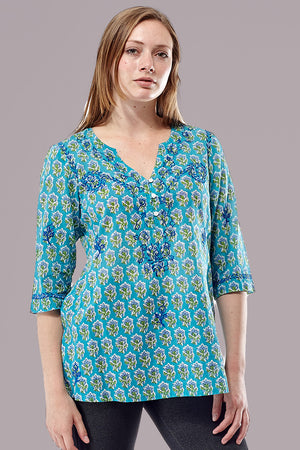 La Cera 3/4 Sleeve Turquoise Embroidered Top - La Cera™ - 1