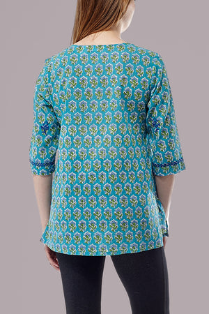 La Cera 3/4 Sleeve Turquoise Embroidered Top - La Cera™ - 3