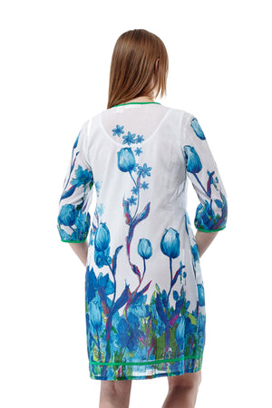 Tulip Print Pleated Tunic Dress