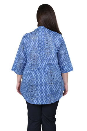 Plus Size Blue Paisley Pleated Tunic