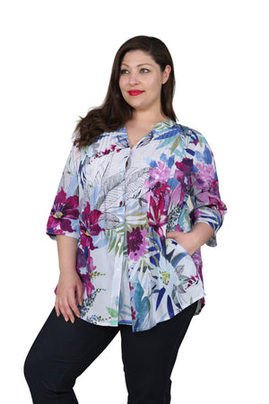 Plus Size Shades of Purple Release Print Tunic