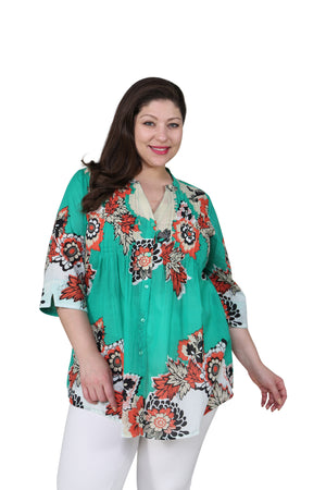 Plus Size Pop Art Floral Release Print Tunic