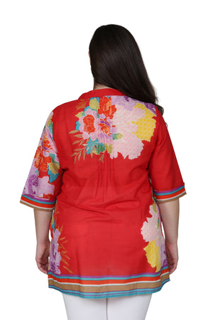 Plus Size Floral Border Print Tunic with Release Pleats