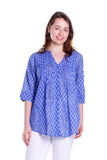 Blue Paisley Pleated Tunic
