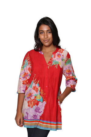 Floral Border Print Tunic with Release Pleats
