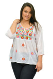 La Cera Plus Size Embroidered Peasant Top