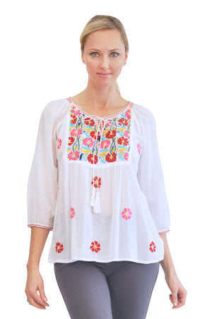 La Cera Multicolored Embroidered Top