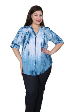 Plus Size Tie Dye Pleated Tunic