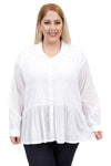 La Cera Plus Size White Puckered Button-up Top