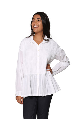 La Cera Puckered Button-up Top