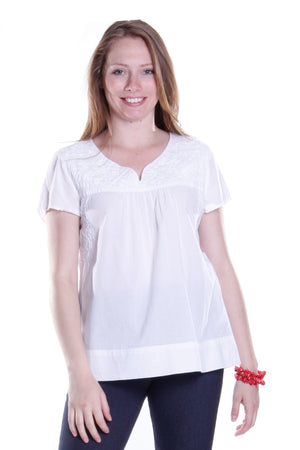 La Cera Cap Sleeve Hand Embroidered White Top