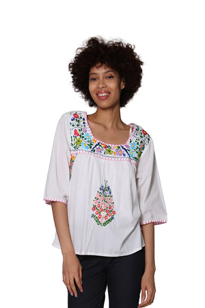 La Cera Square Neck Embroidered Top