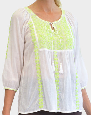 La Cera 3/4 Sleeve Stripe Embroidered Peasant Top - La Cera™ - 3