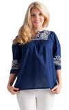 Navy Embroidered Yoke Top