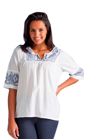 White Embroidered Yoke Top