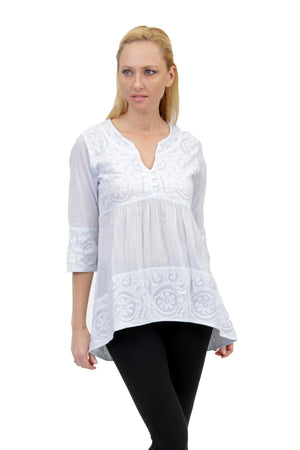 La Cera Applique Trimmed Tunic Top