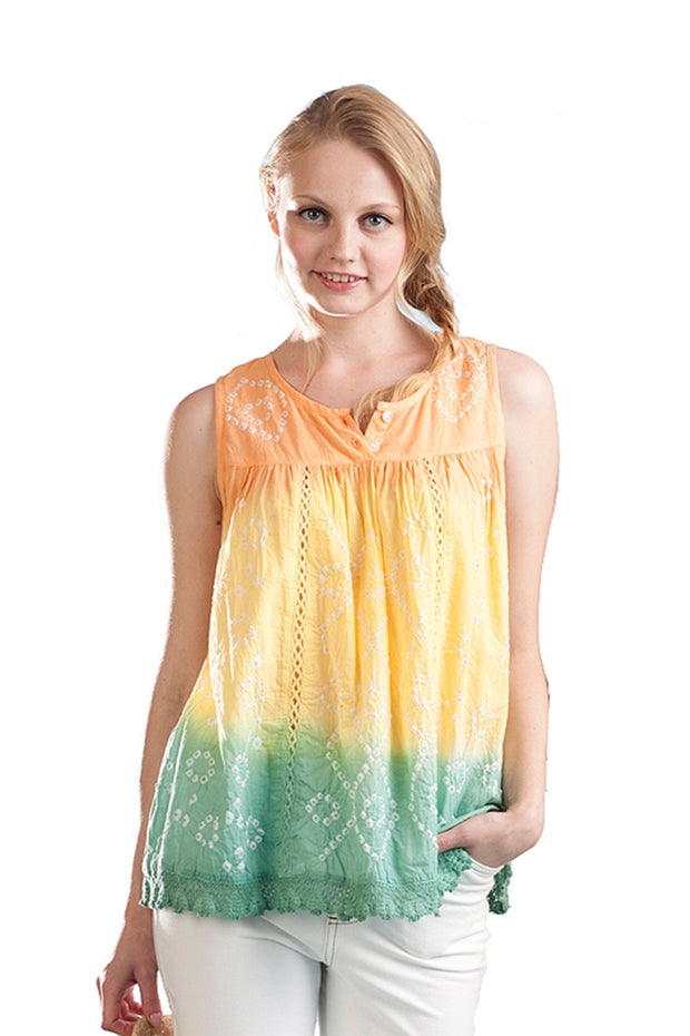 100% Cotton Ombre Tie Dyed Top 1
