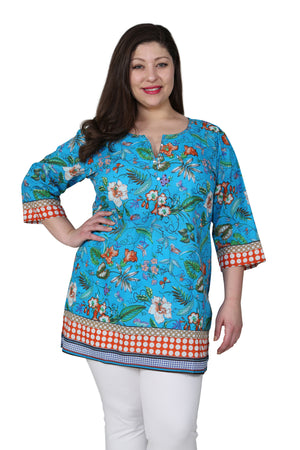 Plus Size Floral Mixed Media Tunic