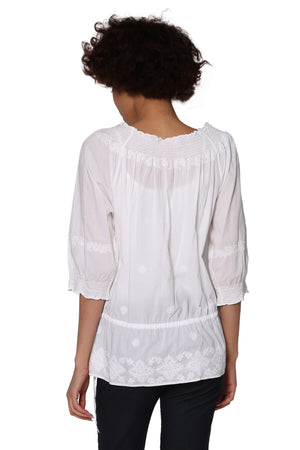 La Cera Hand-Embroidered Smocked Top