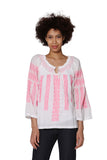 La Cera Hand-Embroidered Peasant Top