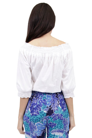 La Cera Embroidered Peasant Blouse
