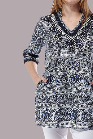La Cera Short Sleeve Printed Tunic Top - La Cera™ - 2