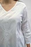 La Cera Plus Size White Embroidered V-Neck Casual Shirt - La Cera™ - 2