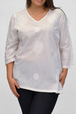 La Cera Plus Size White Embroidered V-Neck Casual Shirt - La Cera™ - 1