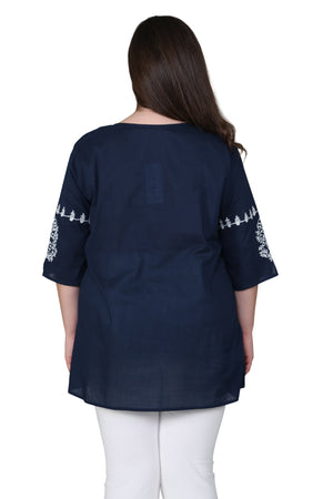 Plus Size Embroidered Bell Sleeve Top