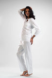 La Cera Long Sleeve Lace Trim Pajama Set - La Cera™ - 2
