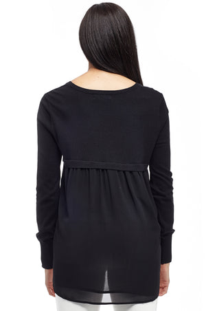 La Cera Rounded Neck Sweater Top with Georgette Back